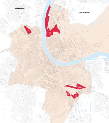 1 Areal Lysbüchel / 2 Hafenareal Klybeck / 3 Klybeckplus / 4 Güterbahnhof Wolf / 5 Dreispitz Nord / 6 Walkeweg