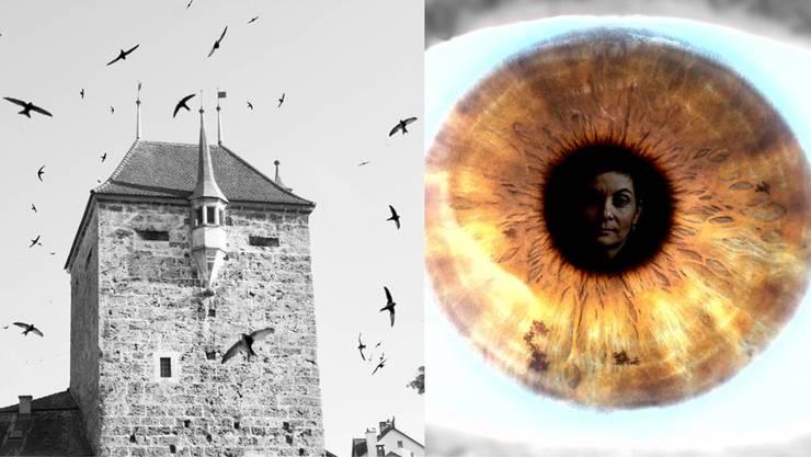 Der Schwarze Turm mit Vögeln und eine Iris, in der sich ein Gesicht spiegelt: Zwei Fotografien, die an den Ausstellungen zu sehen sein werden.