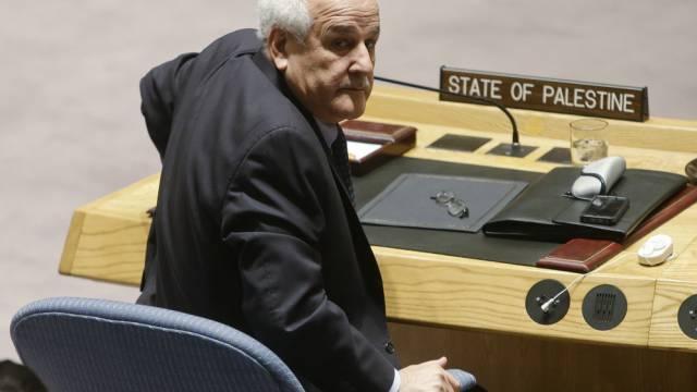 Palästinas Botschafter Mansour während der Sitzung in New York