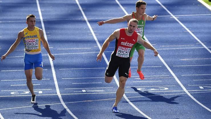 Silvan Wicki lief mit 10,28 die zweitschnellste Zeit aller Vorläufe über 100 Meter.