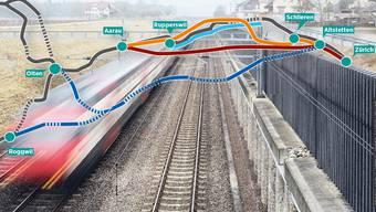 Das Komitee fordert wie der Regierungsrat die Neubaustrecke Aarau-Zürich