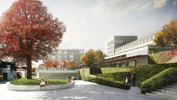 Hinten der Neubau Burghalde 2, davor die neue Turnhalle mit Aussensportplatz auf dem «Deckel», rechts vor der Burghalde 1 der Mensa-, Aula- und Mediothek-Trakt.