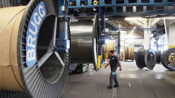 Blick in die Halle der Brugg Cables: Am Standort Brugg werden in allen Bereichen bis Ende Jahr insgesamt rund 60 Stellen abgebaut. Michael Hunziker