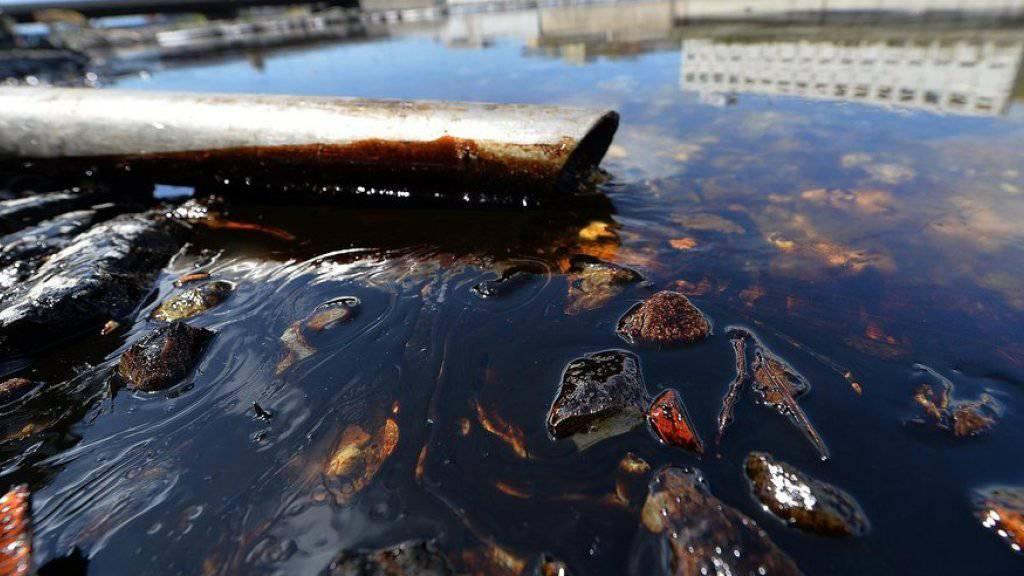 Das ausgetretene Öl im Fluss Polcevera gelangt auch ins Mittelmeer.