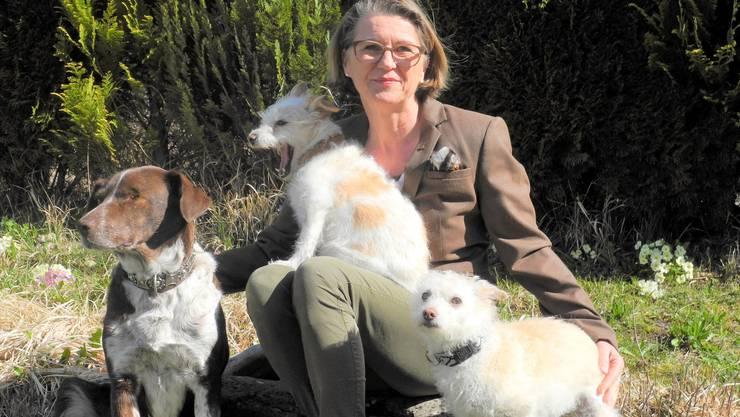 Die Präsidentin der Stiftung Tierbotschafter.ch Brigitte Post, hier mit ihren Hunden, lässt sich nicht unterkriegen.