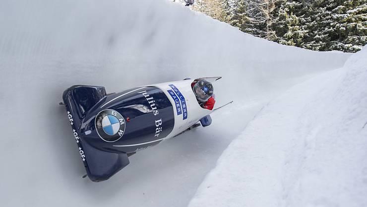 Michael Kuonen und Sandro Michel kommen am Samstag im Olympia-Bobrun von St. Moritz nach Celerina zu ihrem Weltcup-Debüt