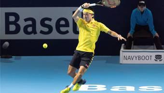 Liess nichts anbrennen: Der an Nummer 3 gesetzte Kei Nishikori gewann in Basel sein Auftaktspiel gegen Dusan Lajovic.keystone