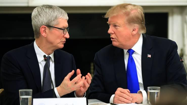US-Präsident Trump und Apple-CEO Tim Cook trafen sich am Mittwoch, um über die Bedeutung der Technologie in der Bildung zu sprechen.