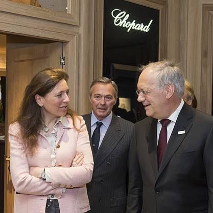 CEO von Chopard, Karl-Friedrich Scheufele und seine Frau Christine mit Bundesrat Johann Schneider-Ammann