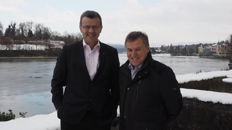 Sie stehen den beiden grössten Gemeinden im Fricktal vor und arbeiten gut zusammen: Franco Mazzi (links) ist Stadtammann von Rheinfelden, Fredy Böni Gemeindeammann von Möhlin.