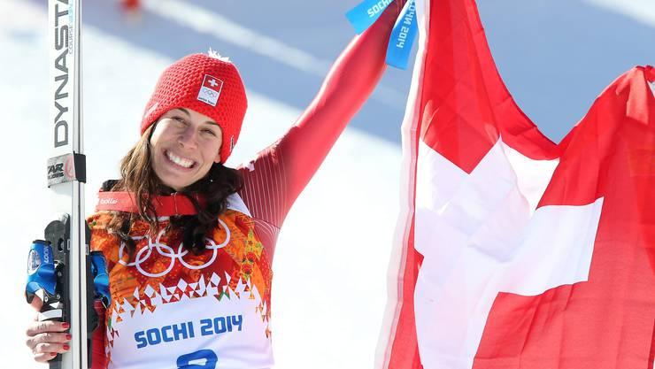 Auf dem obersten Podest-Platz: Dominique Gisin, Olympiasiegerin Ski-Abfahrt.
