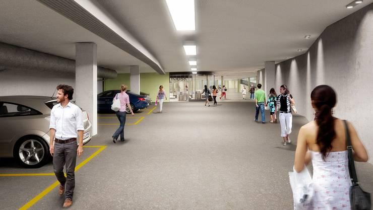 So wird die Tunnelgarage in Zukunft aussehen. Vorgesehen sind wie vor dem Umbau öffentliche Parkplätze, allerdings in geringerer Anzahl.