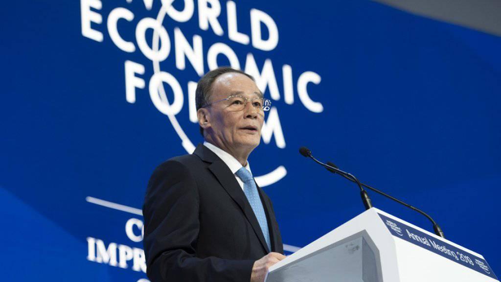 Chinas Vizepräsident Wang Qishan spricht am Mittwoch am WEF in Davos.