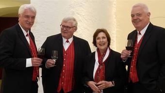 Das Kernteam mit (von links) Cipriano de Cardenas, Zentralpräsident, Moritz Hunziker, OK-Vizepräsident und Ehrenpräsident Jodlerklub Aarau, Christine Egerszegi, OK-Präsidentin, und Marcel Suter, Geschäftsführer.