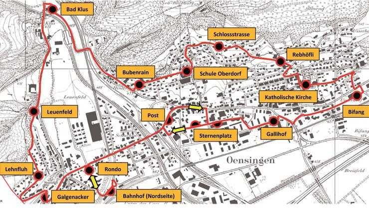 Diese 15 Haltestellen sind auf der rund 7,7 Kilometer langen Strecke vorgesehen. zvg