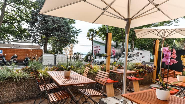 Eine der neuen Terrassen für die Restaurants. Copyright: Maude Rion/Montreux Riviera