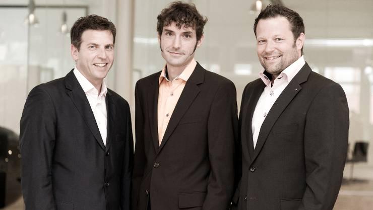 Die Chefs und Inhaber von MySign: Urs Koller, Mike Müller und Reto Baumgartner.  ho