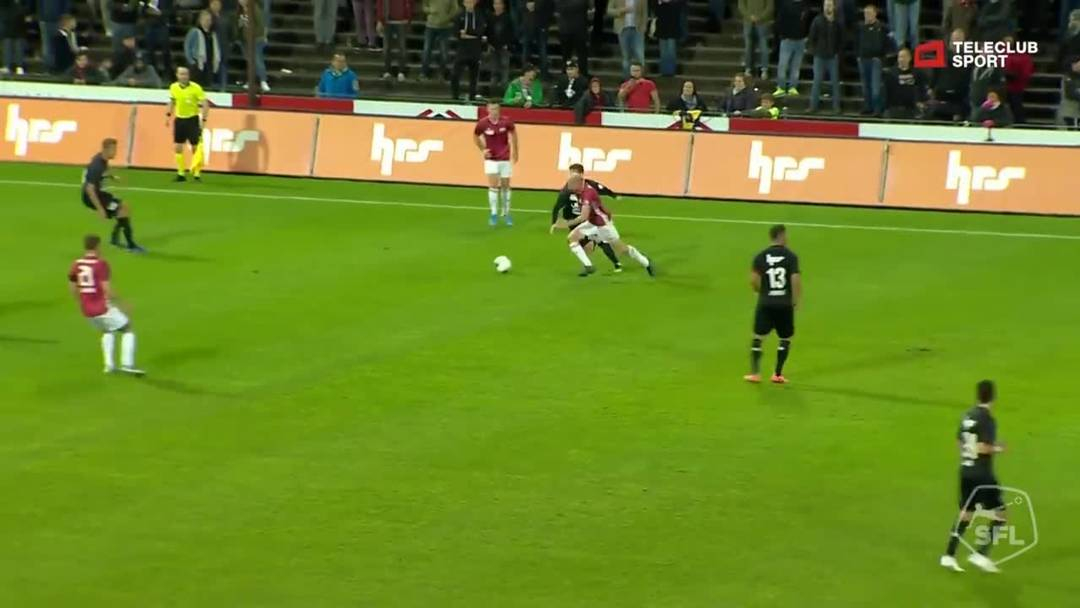 Challenge League: FC Aarau - FC Stade Lausanne-Ouchy, 38. Minute