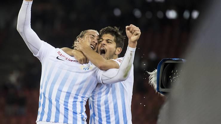 Unbeschreiblicher FCZ-Jubel: Doppeltorschütze Frey (links) und Rodriguez