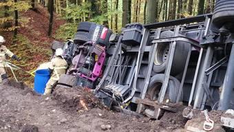 Der Lastwagen krachte in eine Böschung (Symbolbild).jpg