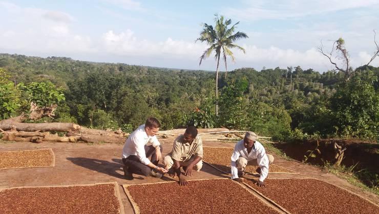 Gemeinsam mit den Bauern Iddi Hassan und Said Bakari begutachtet der Hägendörfer auf der Insel Pemba die geernteten Nelken.
