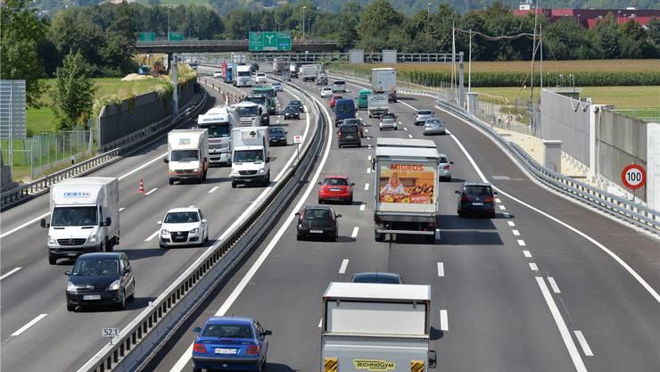 Der Aargau will wie hier bei der Autobahnraststätte Gunzgen Nord sechs Spuren auf der A1.