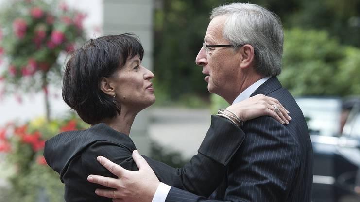 Heile Welt? Der Schein trog. Der EU-Kommissionspräsident Jean-Claude Juncker mit Bundespräsidentin Doris Leuthard.