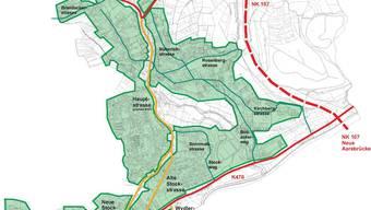 Verkehrsplanung: Neue Staffeleggstrasse (rot gestrichelt) entlastet Hauptstrasse (gelb), die mitten durchs Dorf (grün) führt. Auf der Bibersteinerstrasse (rot, unten) wird mehr Verkehr erwartet. (Ballmer+Partner AG)