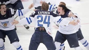 Kasperi Kapanen (Bildmitte) erzielte im Final das Siegtor zum U20-WM-Titelgewinn von Finnland