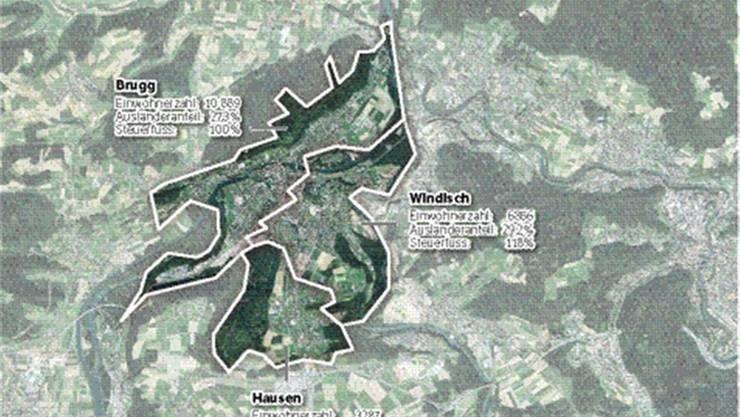 Die Grenzen zwischen Brugg, Windisch und Hausen sind kaum auszumachen.
