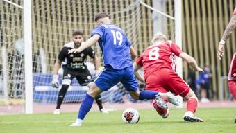 Der FC Baden (rechts mit Cedric Franek und im Hintergrund mit Gabriele D'Ovidio im Tor) hat bisher noch keine Gegentreffer kassiert.