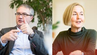 Weibeln aktiv für «ihre» Millionen aus dem Lotteriefonds: Die Regierungsräte Remo Ankli und Susanne Schaffner.