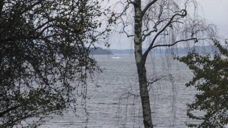 Das Bild des schwedischen Militärs zeigt ein dunkles Objekt in Küstennähe.
