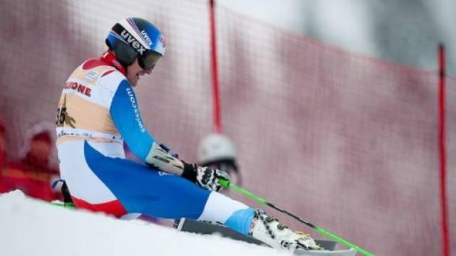 Enttäuschter Daniel Albrecht nach seinem Aus im 1. Lauf. Foto: Valeriano Di Domenico- freshfocus