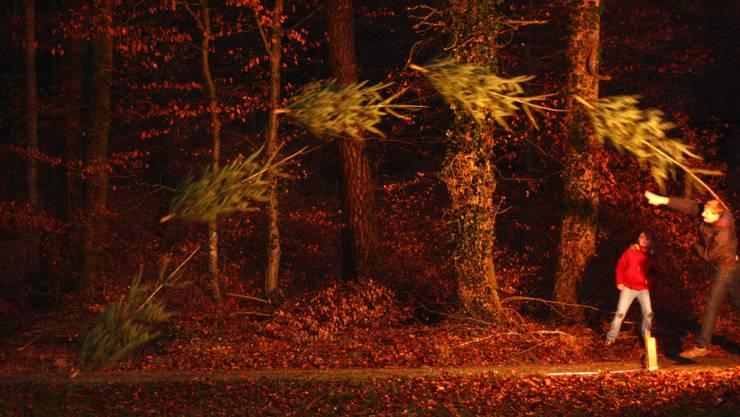 So sieht ein Christbaum-Wurf in der Fotomontage aus