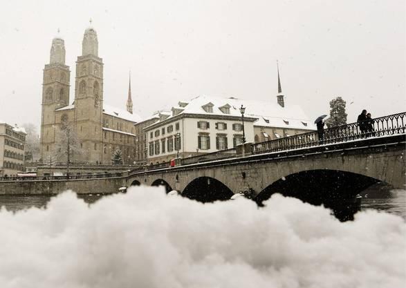 Grosse Schneemengen auch in Zürich
