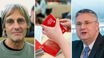 Martin Christen und Andreas Glarner sind sich uneinig darüber, wer die Kompetenz zur Einbürgerung von Ausländern haben soll.