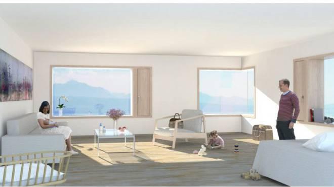 Visualisierung des Lausanner Patientenhotels mit Familienzimmer. Foto: ZVG