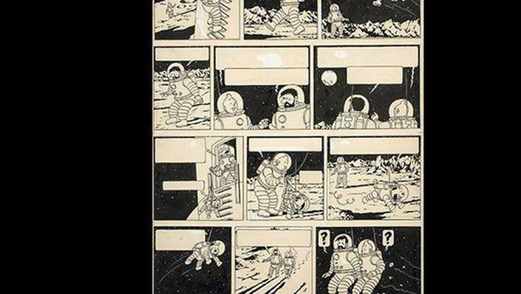 """1,55 Millionen Euro hat ein """"Tim und Struppi""""-Fan bei einer Auktion für diese Originalzeichnung aus dem Band """"Schritte auf dem Mond"""" geboten."""
