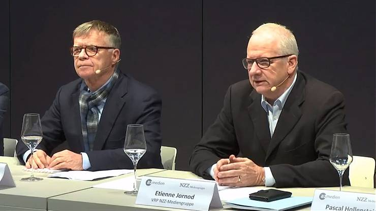 Die Verwaltungsratspräsidenten der beiden Unternehmen: Peter Wanner (AZ Medien, links) und Etienne Jornod (NZZ).