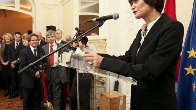 Micheline Calmy-Rey bei ihrer Brüsseler Rede