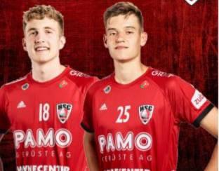 Die beiden HSC-Aufbauspieler Daniel Parkhomenko (l.) und Jonas Kalt stossen beide mit einer Talentförderlizenz zum TV Solothurn.