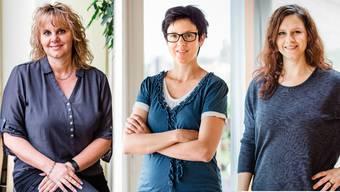 Barbara Wiedmer, Gemeindeschreiberin in Wettingen, Susanne Koppp, Sachbearbeiterin in Schinznach und Daniela Weibel, Gemeindeschreiberin in Habsburg.