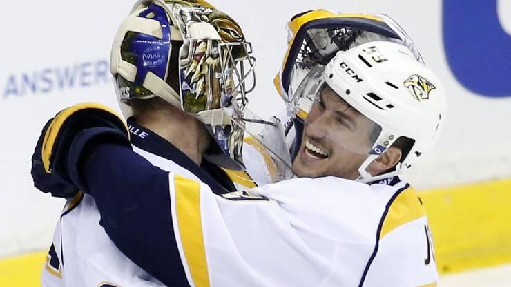 Nashville-Predators-Goalie Pekka Rinne und Roman Josi.