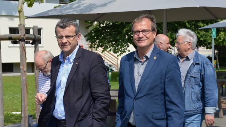 Stadtammann Franco Mazzi und Oberbürgermeister Klaus Eberhardt (rechts)