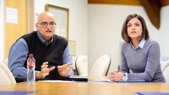 Sven Sataric (SVP) und Sabrina Weisskopf (FDP) diskutieren über das Ressortsystem für Biberist.