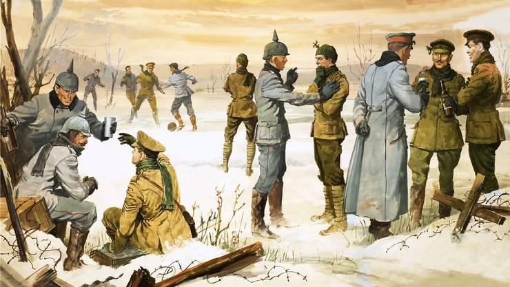 Deutsche (in Helmen mit Spitze) feiern mit den verfeindeten britischen Soldaten Weihnachten. Für einige Stunden ist der Krieg unterbrochen.
