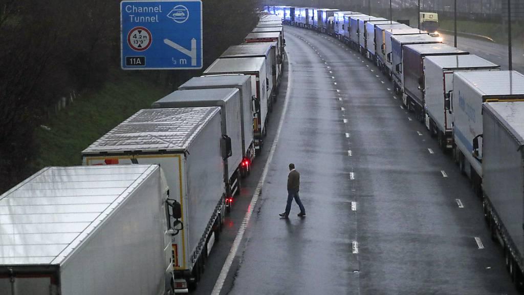 Lastwagen stehen in langen Schlangen auf der M20 in der Nähe von Folkestone in der Grafschaft Kent im Stau, nachdem der Zugang zum Eurotunnel nach der Ankündigung der französischen Regierung, in den nächsten 48 Stunden keine Passagiere aus Großbritannien zu akzeptieren, geschlossen wurde. Foto: Steve Parsons/PA Wire/dpa
