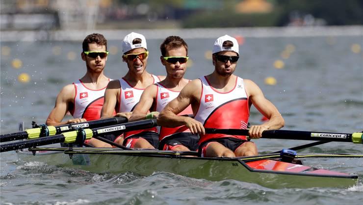 Lucas Tramèr, Simon Schürch, Simon Niepmann und Mario Gyr an den Olympischen Spielen in Rio 2014, an denen sie die Goldmedaille gewinnen konnten. Keystone