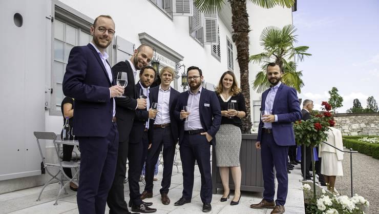 (v.l): Lukas Langenegger (hemotune AG), Rolf Adelsberger(Sensoryx AG), Fabio Depetris (Touchless Automation GmbH), Peter Diehl (Audatic GmbH), Mano Lubrano (inVoli), Sylke Hoehnel (Sun Bioscience), David Corrêa (Acube Technology AG)